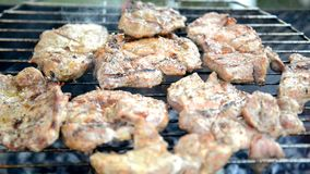 Meat grill. Video on fire and smoke stock footage