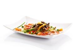 meat grillade grönsaker Arkivbild