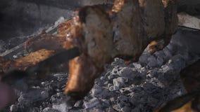 Meat grillar på Matlagningkebab på steknålar Matlagninggrisköttkött på varmt kol Closeup av den traditionella picknickmaträtten stock video