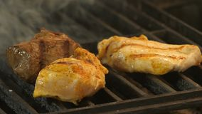 Meat grilled marinated in spices, turmeric, pepper, salt, two chicken fillets or turkey meat with grill prints and veal. Meat is medalled grilled, the tubers of stock video