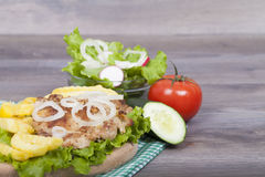 Meat grilled with salad Stock Photos