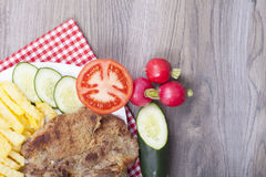Meat grilled with salad Royalty Free Stock Images