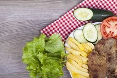 Meat grilled with salad Stock Photography