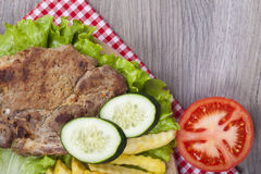 Meat grilled with salad Royalty Free Stock Photos