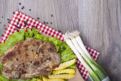Meat grilled with salad Royalty Free Stock Photo