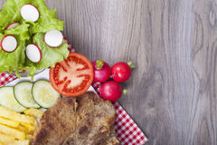 Meat grilled with salad Royalty Free Stock Image