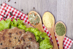 Meat grilled with salad Stock Images