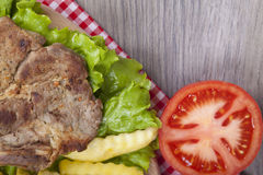 Meat grilled with salad Royalty Free Stock Photography