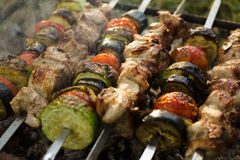 Meat and grilled vegetables. Barbecue. Stock Photography
