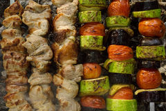 Meat and grilled vegetables. Barbecue. Royalty Free Stock Photo