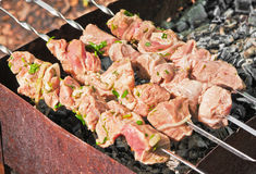 Meat grilling over charcoal Royalty Free Stock Photo