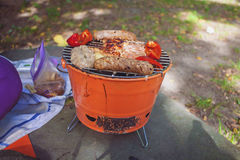 Meat grilling over the coals on a portable barbecue Stock Photos