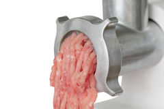 Meat grinder with chopped meat Stock Photography