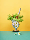Meat grinder with flowers. Healthy food still life. meat grinder with flowers.funny picture from vegetables royalty free stock photos