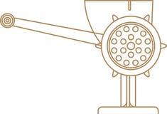 Meat grinder. Old style meat grinder. Vector illustration. Linear drawing Stock Illustration