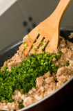 Meat grinder stir fry in a pan. By the ladle Stock Images