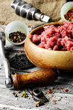 Meat ground in meat grinder Royalty Free Stock Photography