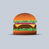 Meat hamburger. Flat meat hamburger with shadow Stock Photos