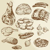 Meat. Hand drawn collection of meat Royalty Free Stock Image