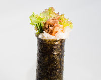 Meat Hand Roll Temaki. Sliced Meat Hand Roll Temaki on a seaweed wrapper, white background Royalty Free Stock Images
