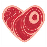 Meat Heart. For all of the meat lovers out there. Vector cartoon illustration of a heart-shaped chop of meat Stock Photography