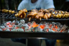 Meat On The Hot BBQ Grill stock images