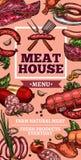Meat delicatessen and sausages vector sketch. Meat house or butcher farm shop sketch poster. Vector meaty delicatessen of cervelat, pepperoni sausage, pork filet royalty free illustration