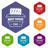 Meat house icons vector hexahedron. Meat house icons vector colorful hexahedron set collection isolated on white stock illustration