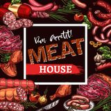 Vector sketch poster for meat house delicatessen. Meat house menu or poster of meat delicatessen, sausages and farm meaty products. Vector sketch design template royalty free illustration