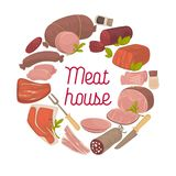 Meat house delicatessen vector poster. Meat house poster of sausages and butchery delicatessen for farm shop or market. Vector salami or brisket and cervelat vector illustration