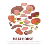 Meat house poster of vector meat and sausages delicatessen icons. Farm meat products poster of sausages and butchery delicatessen for shop or market. Vector royalty free illustration