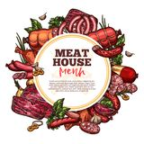 Meat house sausages and delicatessen. Meat house sketch menu, premium farm products. Vector meat and sausages cervelat, pepperoni, pork filet or beef steak and vector illustration