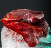 Meat on an ice cube Stock Photography