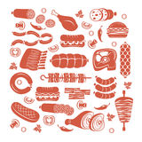 Meat icon set Stock Photos