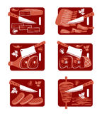 Meat icon set. Set of flat vector icons of  meat and knife Royalty Free Stock Images
