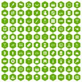 100 meat icons hexagon green. 100 meat icons set in green hexagon isolated vector illustration Stock Image