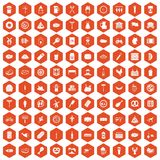100 meat icons hexagon orange. 100 meat icons set in orange hexagon isolated vector illustration Royalty Free Stock Images