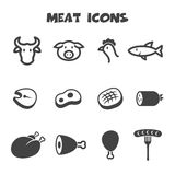 Meat icons. Mono vector symbols Stock Photo
