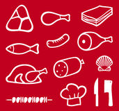 Meat icons set. Pork leg, meat icons symbols Royalty Free Stock Photography