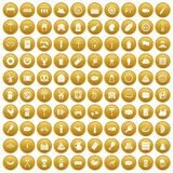 100 meat icons set gold. 100 meat icons set in gold circle isolated on white vector illustration vector illustration