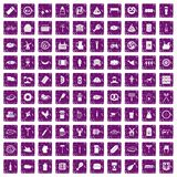 100 meat icons set grunge purple. 100 meat icons set in grunge style purple color isolated on white background vector illustration Royalty Free Stock Image