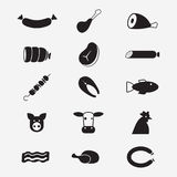 Meat icons. Set of isoladet icons on a theme meat Stock Image