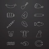 Meat icons. Set of isoladet icons on a theme meat Royalty Free Stock Image