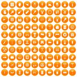 100 meat icons set orange. 100 meat icons set in orange circle isolated on white vector illustration vector illustration