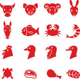 Meat icons. Set of various meat vector icons Stock Photography