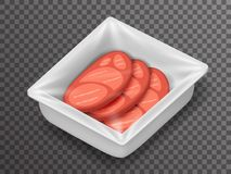 Meat isometric disposable food pack isolated 3d realistic shop package box with shadow mockup transparent background Royalty Free Stock Photo