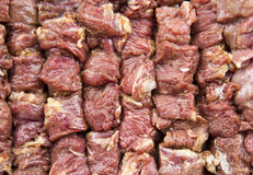 Meat for kebab on barbecue Royalty Free Stock Images