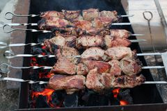 Meat kebab on a brazier. Pork fried on hot corners in the grill Royalty Free Stock Images