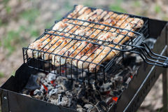 Meat kebab food grilled on barbecue Stock Photo