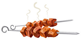 Meat kebab grilled. Veal, pork, mutton, steaks on skewers, picnic with grilled meat Royalty Free Stock Image